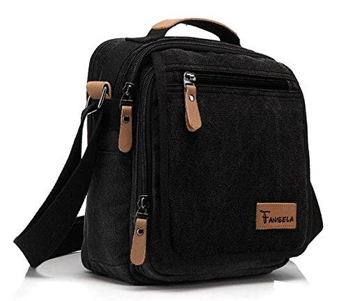 Fansela(TM) Retro Vintage Multi-pocket Small Canvas Shoulder Bag Cross-body Pack (Black)