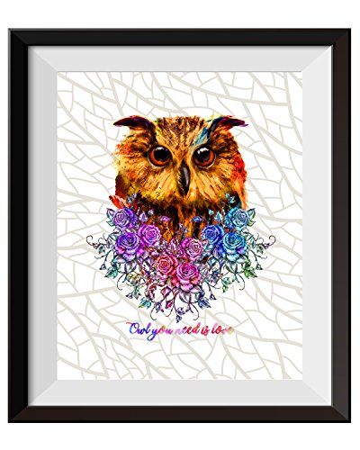 Uhomate The Owl Decor Cute Owl Wall Art Owl Painting Home