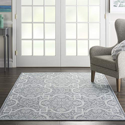 Nourison ARB02 Aruba Indoor/Outdoor Oriental Slate/Light Blue Area Rug 4'3
