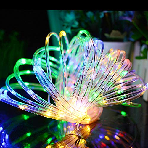 (Aluvee Solar Rope String Light,Garden Decoration Outdoor Waterproof Rope String Christmas Lamp Wedding Party Tree Xmas Decoration Tree Xmas (33ft/100LED,Multicolor + PVC)