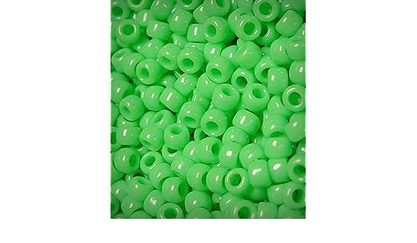 Lime Green 9x6mm Pony Beads 500pc USA made rave kandi jewelry school kid crafts