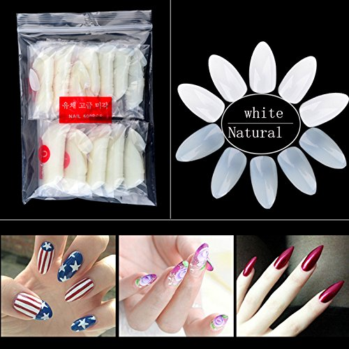 600pcs/bag Clear Oval Stiletto Pointy Full Artificial False Fake Nail Art Tips Almond Shape Acrylic Gel Claw Full Cover Salon (Pointy Almond)