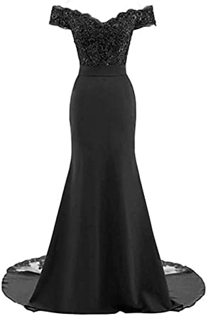 67f90fd4eb48 Lily Wedding Womens Lace Off Shoulder Mermaid Prom Dress Long Sleeveless  Evening Bridesmaid Dress with Mesh