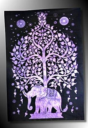 Cortinas-- -Cortinas de pared, diseño de elefante indio étnico-punto de cruz, diseño de Buda batik-Diseño de mandalas-Toalla: Amazon.es: Hogar
