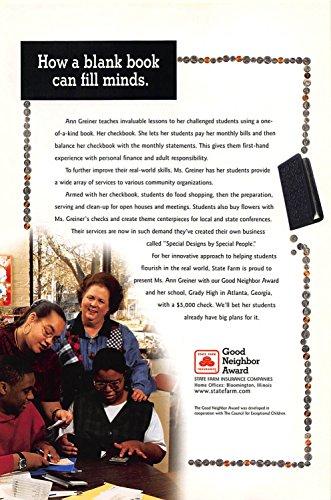 Print Ad 1999 State Farm Insurance Good Neighbor Award A Blank Book Can Fill Minds
