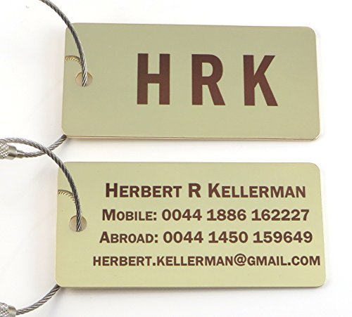 Custom Silver or Gold Luggage Tag w/Stainless Steel Cable Loop - Free Dark Laser Engraving Personalization (Gold)