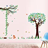 AWAKINK Cartoon Animals Flowers Rabbit Naughty Monkey Butterflies on Tree Height Measurement Growth Chart Wall Stickers Wall Decal Vinyl Removable Art Wall Decals for Girls and Boys Nursery Room Children's Bedroom