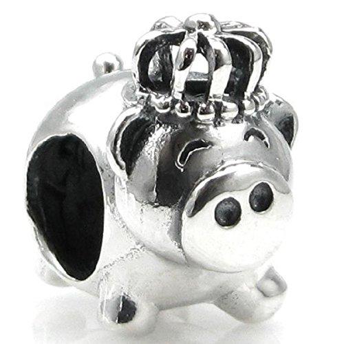 Sterling Silver Pig King Crown European Style Bead ()
