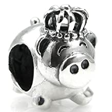 .925 Sterling Silver Cute Pig King Crown Bead For European Chamilia Biagi Troll Pandora Charm Bracelets