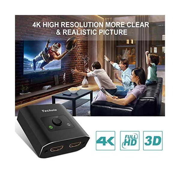 Techole HDMI Switch (Aggiornato), Alluminio Switch HDMI Bidirezionale 2 Ingressi 1 Uscita o 1 Ingresso 2 Uscite… 5 spesavip