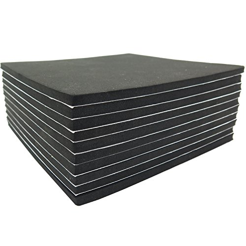 Neoprene Rubber Sheets 6in x 6in x 1/4in with Adhesive Backing (10pack)