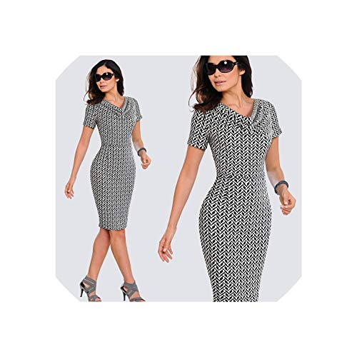 Women Casual Leopard Print Office Business Sheath Slim Summer Pencil Dress HB452,Black and White,S