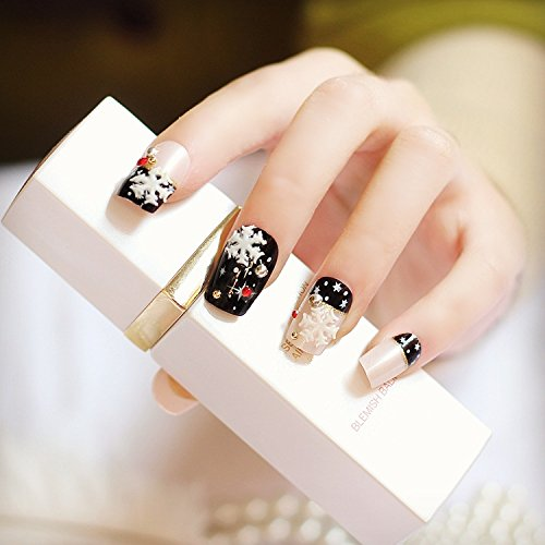 Amazon.com : Snow Flakes Decor Press On Nails Black Square Beige Acrylic Nail Tips Daily Wear 24pcs/ kit Z904 : Beauty