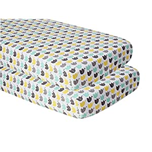 Bacati Unisex Mini Elephants Printed 2 Piece Crib/Toddler Fitted Sheet, Mint/Yellow/Grey