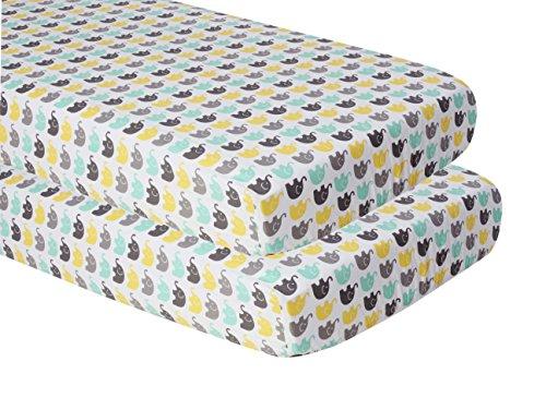 - Bacati Unisex Mini Elephants Printed 2 Piece Crib/Toddler Fitted Sheet, Mint/Yellow/Grey