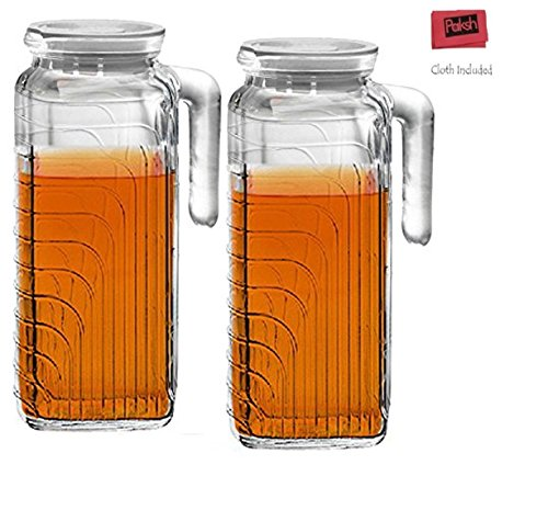 Glass Water Pitcher With White Lid Spout 41 Oz Set Of 2