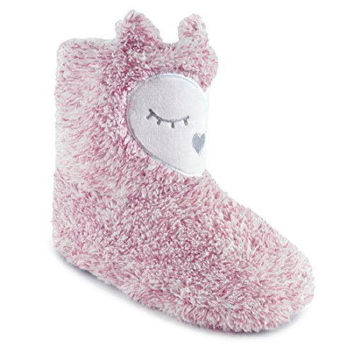 Owl Pink Lined Boot Face Fleece Slipper Ladies with wPXg1q0