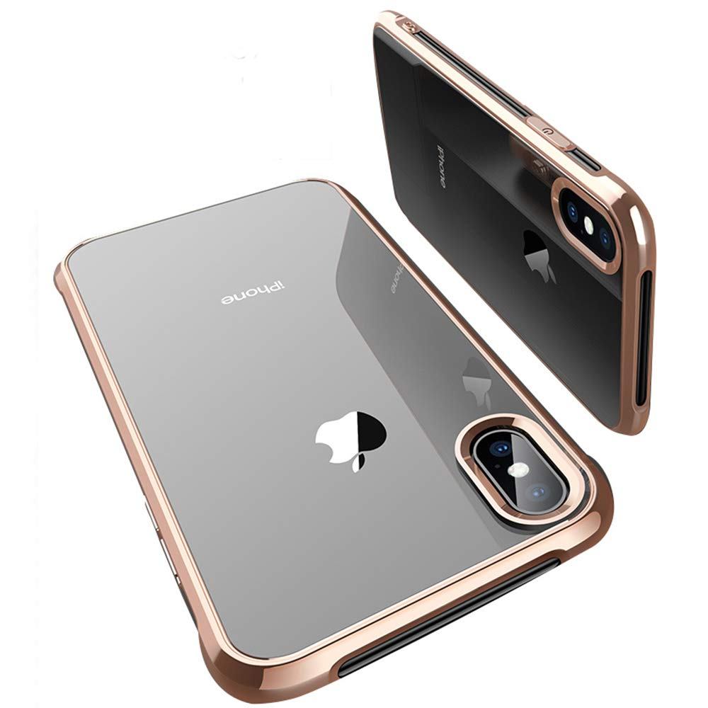 OTOFLY Case Apple iPhone X, Slim Fit-Electroplating Shell-HD Clear Flexible Soft TPU Cover Four Corners Thicken Shockproof Heavy Duty Protection Clear Cases Gold Frame