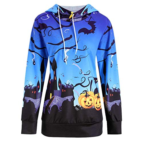 DEATU Women Clearance Tops,Ladies Teen Halloween Pumpkin Devil Sweatshirt Pullover Blouse Shirt(Blue,M) from DEATU