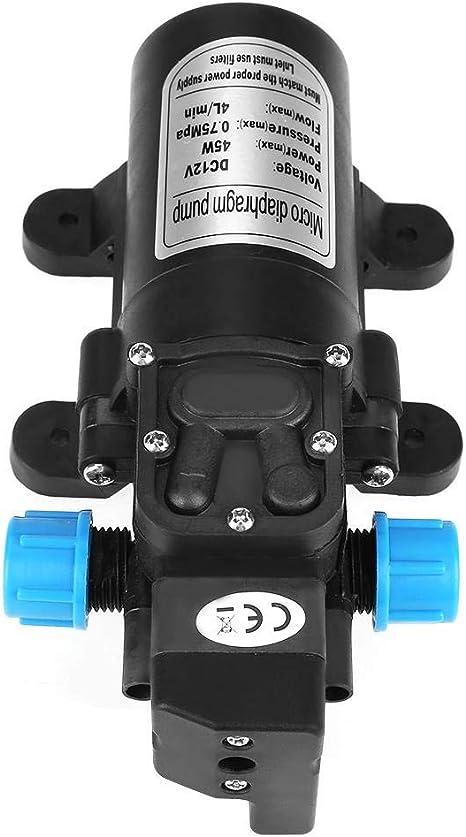 DC 12V 45W 1 metro 4L//min Flujo Negro con filtro Micro diafragma Bomba autocebante de agua Bajo nivel de ruido