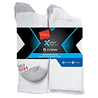 Hanes Men's X-Temp Comfort Cool Vent Crew Socks, White/Grey, 6-12 (Pack of 6)