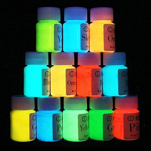 Glow in the Dark-Self-Luminous Paint-Neon Fluorescent Paint-Phosphorescent-Blacklight Reactive Neon Fluorescent-Non-Toxic, Washable-Set of 12 bottles. 0.7 oz. each