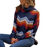 XOWRTE Women's Casual Geometric Turtleneck Fall Long Sleeve Pullovers Sweater Blouse Tops