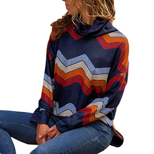 - XOWRTE Women's Casual Geometric Turtleneck Fall Long Sleeve Pullovers Sweater Blouse Tops