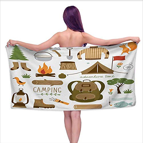 Onefzc Athletic Towel Adventure Camping Equipment Sleeping Bag Boots Campfire Shovel Hatchet Log Artwork Print Absorbent Soft Washcloth W55 x L27 Multicolor