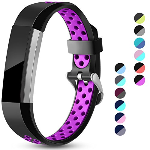 Maledan Replacement Bands Compatible for Fitbit Alta, Fitbit Alta HR and Fitbit Ace, Accessory Sport Bands Air-Holes Breathable Strap Wristbands with Stainless Steel Buckle, Black/Purple, Large