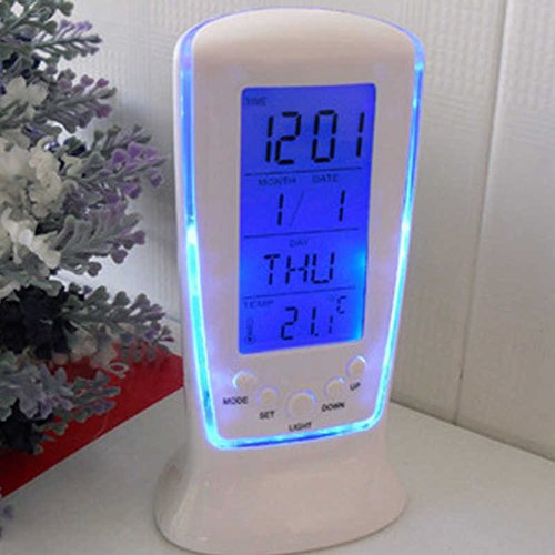 lightclub LED Digital Alarm Clock with Blue Backlight Electronic Calendar Thermometer Gift
