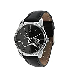 ZIZ Guitar Black Watch Unisex Wrist Watch, Quartz Analog Watch with Leather Band