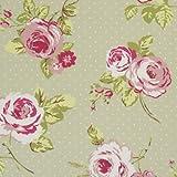 English Rose Sage Polka Dot Wipe Clean Cotton Oilcloth Tablecloth 250cm x 132cm