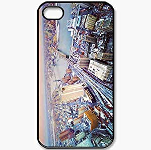 Protective Case Back Cover For iPhone 4 4S Case USA New York Megalopolis Black