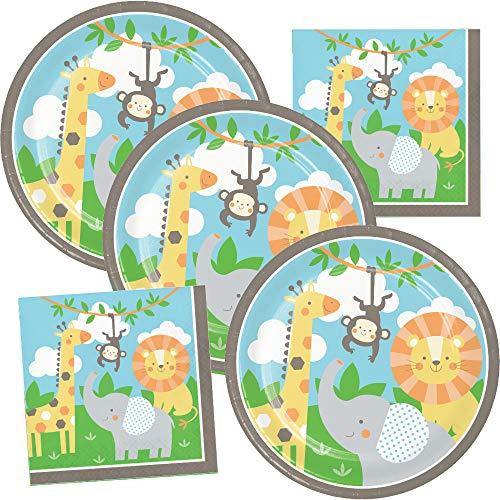Safari Paper Plates (Jungle Animals Birthday Party Supplies Wild Safari Theme Plate and Napkin)