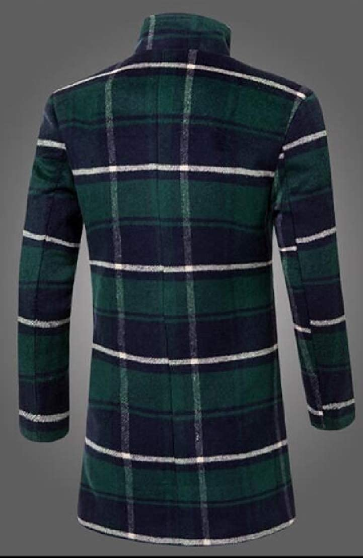 Generic Mens Single-Breasted Plaid Woolen Trench Coat Overcoat Outwear Green L