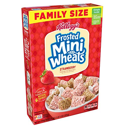 Pantry Pack Mini - Kellogg's Breakfast Cereal, Frosted Mini-Wheats, Strawberry, Low Fat, Excellent Source of Fiber, Family Size, 21 oz Box
