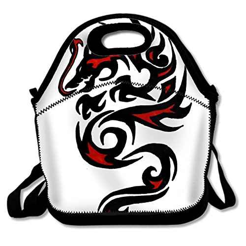 Dragon Tattoo Insulated Neoprene Lunch Bag Removable Shoulder Strap Reusable Thermal Thick Lunch Tote Bags For Outdoors,Work,Office,School