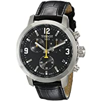 Men's TIST0554171605700 PRC 200 Chronograph Stainless Steel Watch with Black Leather Band