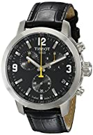 Tissot Men's TIST0554171605700 PRC 200 Chronograph Stainless Steel Watch with Black Leather Band