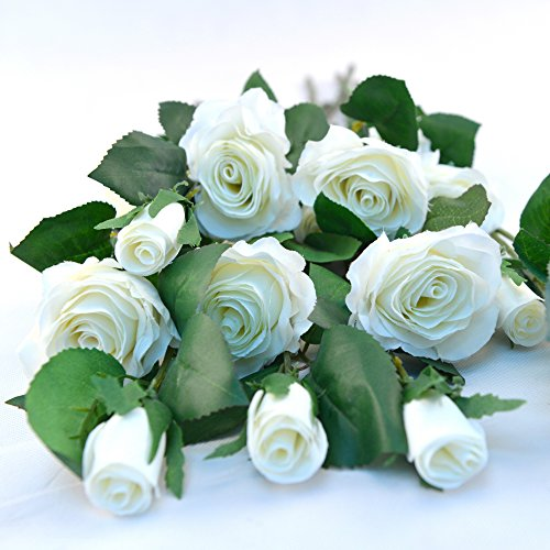 Glitz Star 10pcs Silk Artificial Rose Long Stem Flower for Bridal Bouquet Home Wedding Decoration Floral Gift (White) (Pink Long Stem Vases)