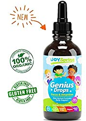 Best Natural Focus Supplement For Kids, Supports Healthy Brain Function To Improve Concentration & Attention For School, Great Tasting Liquid Calming Supplement, Made From Organic Herbs