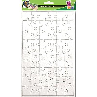 10 puzzles de 54 pièces à décorer - 24 x 16 cm - Graines créatives