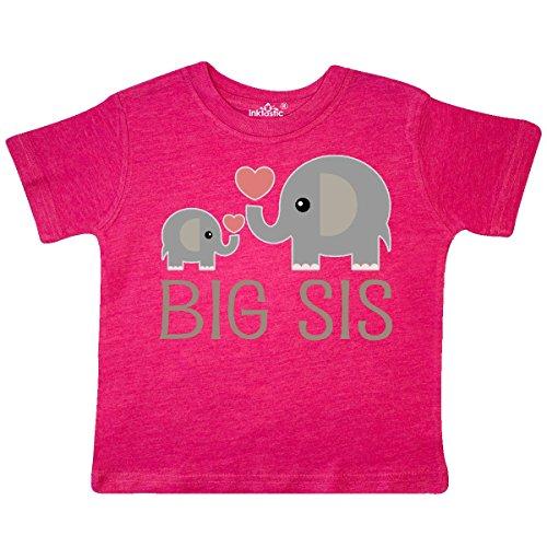 inktastic - Big Sis Elephant Toddler T-Shirt 2T Retro Heather Pink