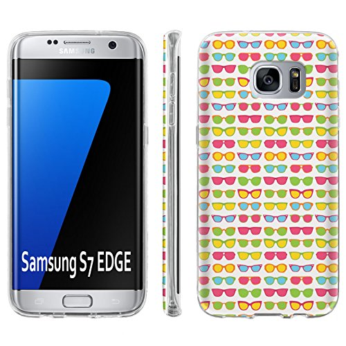 Samsung Galaxy [S7 Edge] [GS7 Edge] Soft Mold [Mobiflare] [Clear] Thin Gel Protect Cover - [Sunglasses] for Galaxy [S7 Edge] [5.5