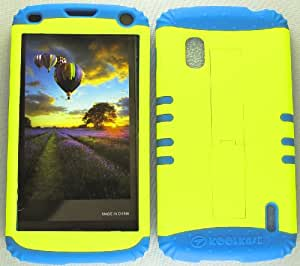 SHOCKPROOF HYBRID CELL PHONE COVER PROTECTOR FACEPLATE HARD CASE AND LIGHT BLUE SKIN WITH STYLUS PEN. KOOL KASE ROCKER FOR LG NEXUS 4 E960 NEON PEARL YELLOW LB-A006-AY