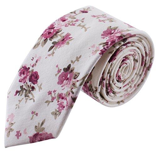 Man of Men - Men's Floral Tie - Cream & Pink (Cream Pink Floral)