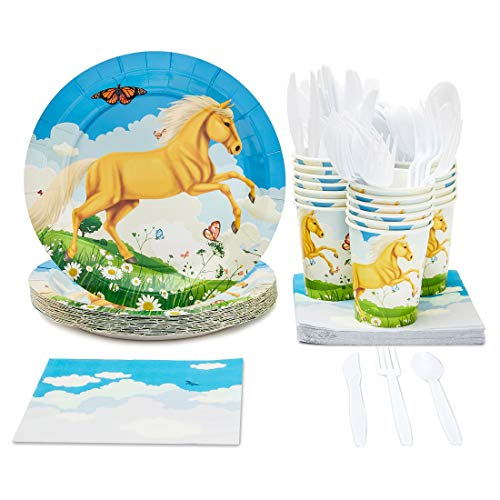 Horse Themed Parties (Disposable Dinnerware Set - Serves 24 - Horse Party Supplies for Kids Birthdays, Pony Design, Includes Plastic Knives, Spoons, Forks, Paper Plates, Napkins,)
