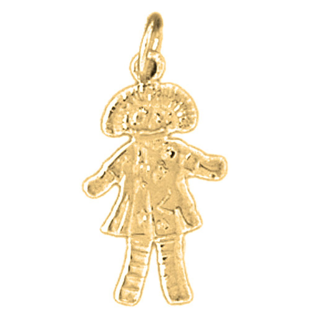 Jewels Obsession Doll Necklace 14K Yellow Gold-plated 925 Silver Doll Pendant with 16 Necklace