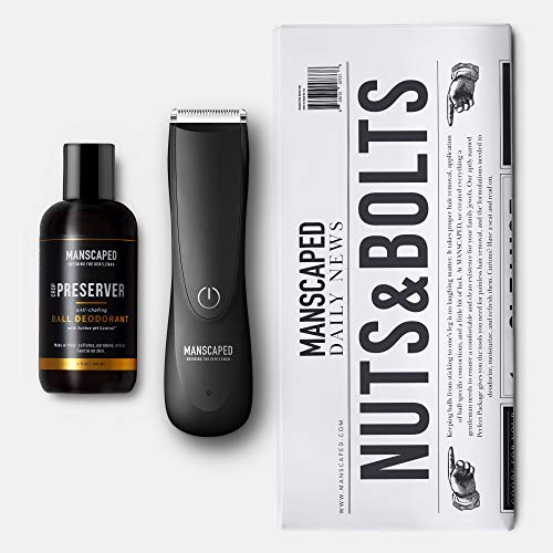 MANSCAPED™ Nuts and Bolts 2.0 Men's Grooming Kit, Includes Ergonomically Designed Powerful Waterproof Lawn Mower™ 2.0 Electric Trimmer, Crop Preserver™ Ball Deodorant Plus Disposable Shaving mats